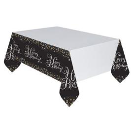 Plastic tafelkleed 'HBD' sparkling. Het kleed heeft een uitgevouwen maat van 137x259cm.