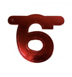 Banner cijfer 6 Rood 1 pcs