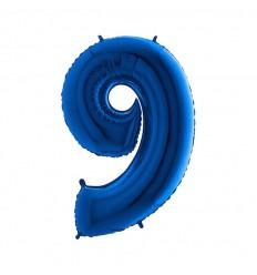 Folie ballon Blauw Cijfer 9 plus minus 102 cm wordt geleverd met helium kan alleen bezorgd worden in Berkel en Rodenrijs, Bergschenhoek, Bleiswijk en pijnacker  of in de winkel afgehaald worden