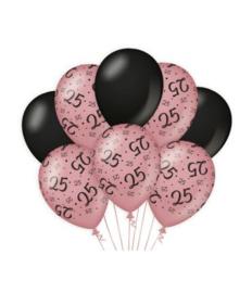 25 jaar Ballonnen 8 stuks Rose Black
