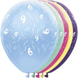 Ballonnen 9 jaar 5 stuks