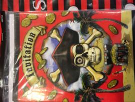 Piraten party uitnodigingskaarten 8 stuks
