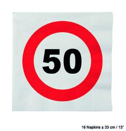 50 Jaar: 16 napkins plus minus 23 cm