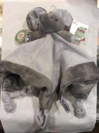Knuffel olifant Wit/Grijs met fop bevestiging