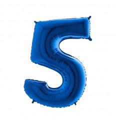 Folie ballon Blauw Cijfer 5 plus minus 102 cm  wordt geleverd met helium kan alleen bezorgd worden in Berkel en Rodenrijs, Bergschenhoek, Bleiswijk en pijnacker  of in de winkel afgehaald worden