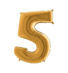 Folie ballon Goud Cijfer 5 plus minus 102 cm met helium kan alleen bezorgd worden in Berkel en Rodenrijs, Bergschenhoek, Bleiswijk, pijnacker of in de winkel afgehaald worden