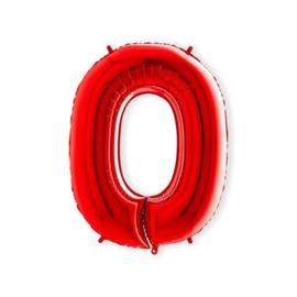 Cijffer 0 Rood 100 cm wordt geleverd met helium kan alleen bezorgd worden in Berkel en Rodenrijs, Bergschenhoek, Bleiswijk, pijnacker  of in de winkel afgehaald worden