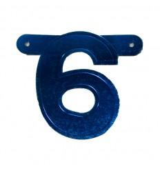 Banner cijfer 6 Blauw 1 pcs