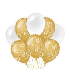65  jaar Ballonnen 8 stuks gold White