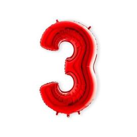 Cijffer 3 Rood 100 cm wordt geleverd met helium kan alleen bezorgd worden in Berkel en Rodenrijs, Bergschenhoek, Bleiswijk, pijnacker  of in de winkel afgehaald worden