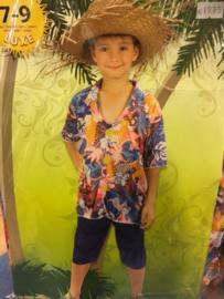 Hawai blouse met stro hoed maat 128