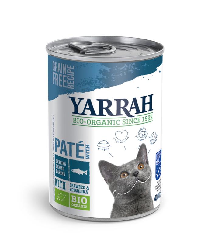 Yarrah Biologisch Natvoer voor Katten Paté met MSC-vis