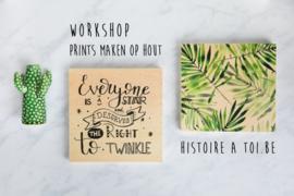 Print maken op hout / Houten Kerstkaarten Don 21 nov  (19u30 - 22u)