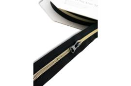 7,50€ p/m - Zwart zilver geel- Rits op de meter