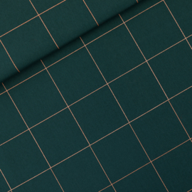 SYAS - Thin Grid - XL - Katoen Canvas Gabardine Twill - Green Gables - R