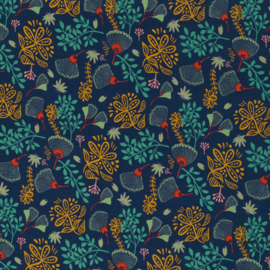 Splendour by jolijou, Viscose Jersey, Flowers, dark blue