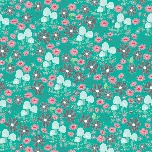 Teal Floral Garden