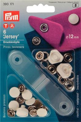 Jersey  drukknopen wit 12mm