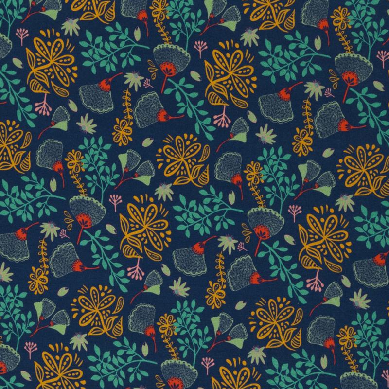 Splendour by jolijou, Viscose Jersey, Flowers, dark blue