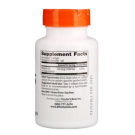 Doctor's Best,Vitamine D3 1000 IE, 180 softgels van rundergelatine