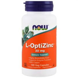 Now Foods, L-OptiZink, 30 mg (met 0,3 mg koper), 100 vegetarische capsules
