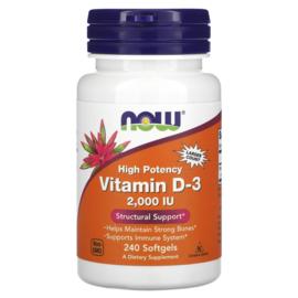 Now Foods, Vitamine D3 2000 IE, 240 softgels van rundergelatine