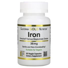 California Gold, Ferrochel IJzer Bisglycinaat, 36 mg, 90 vegetarische capsules