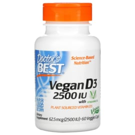 Doctor's Best, Vegan D3 met Vitashine D3, 2500 IE, 60 vegetarische capsules