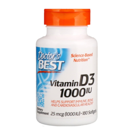 Doctor's Best,Vitamine D3 1000 IE, 180 softgels van rundergelatine