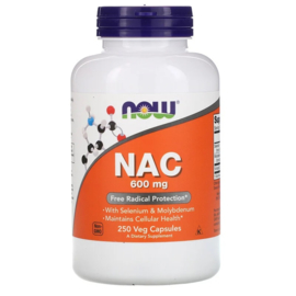 Now Foods NAC 600mg, 250 vegetarische capsules