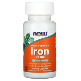 Now Foods, IJzer Bisglycinaat, 36 mg, Double Strength, 90 vegetarische capsules