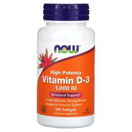 Now Foods, Vitamine D3 1000 IE, 180 softgels van rundergelatine