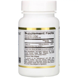 California Gold Vitamine D3 5000 IE, 90 sofgels van visgelatine