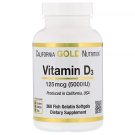 California Gold Vitamine D3 5000 IE, 360 sofgels van visgelatine