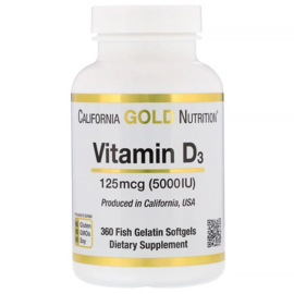 California Gold, Vitamine D3 5000 IE, 360 softgels van visgelatine