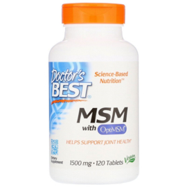 Doctor's Best, Pure MSM, 1500 mg, 120 vegetarische tabletten