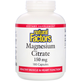 Natural Factors, Magnesium Citraat, 150 mg, 180 capsules