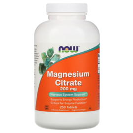 Now Foods Magnesium Citraat, 200 mg, 250 vegetarische tabletten