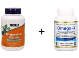 1x Now Foods Magnesium Citraat, 120 vegetarische capsules + 1x California Gold Omega-3, Triglyceride vorm, 180 EPA/120 DHA, 100 softgels van visgelatine