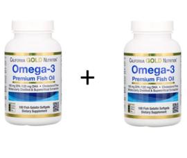 2x California Gold, Omega 3, Triglyceride vorm, 180 EPA/120 DHA, 200 softgels van visgelatine