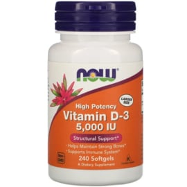 Now Foods, Vitamine D3 5000 IE, 240 softgels van rundergelatine