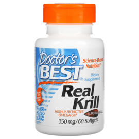 Doctor's Best, Real Krill, krill olie, 350 mg, 60 softgel capsules