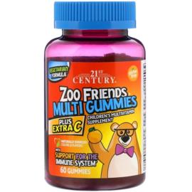 21st Century Zoo Friends Multi Gummies met extra vitamine-C, 60 vegetarische gummies