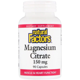 Natural Factors, Magnesium Citraat, 150 mg, 90 capsules