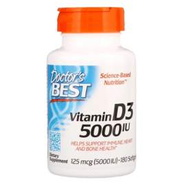 Doctor's Best, Vitamine D3 5000 IE, 180 softgels van rundergelatine