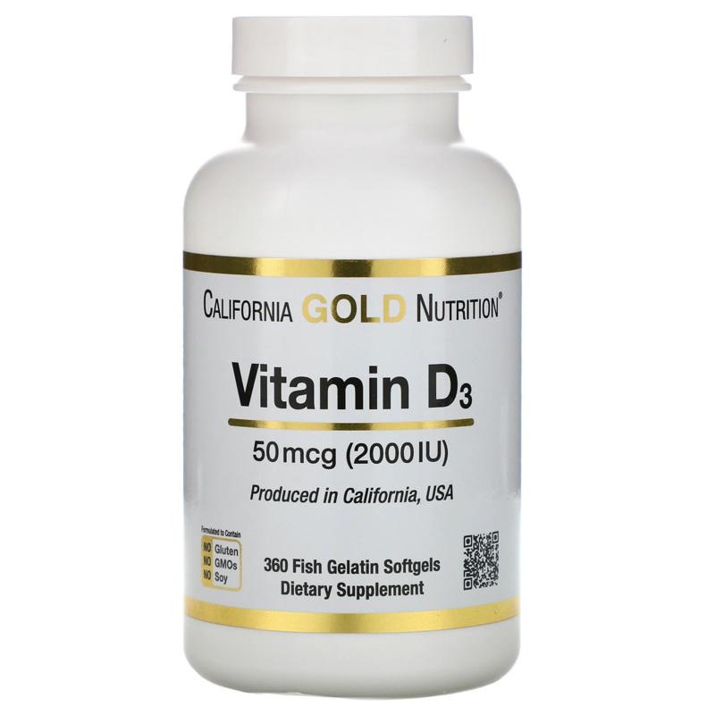 California Gold,Vitamine D3 2000 IE, 360 softgels van visgelatine