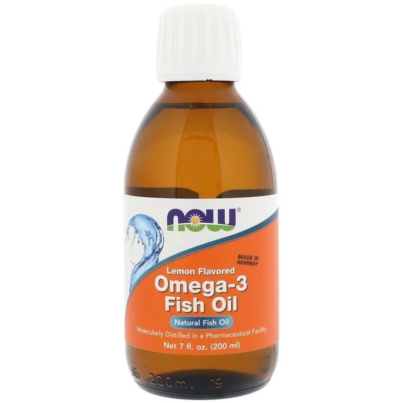 Now Foods, Vloeibare Omega-3 visolie, met citroensmaak, 200 ml.