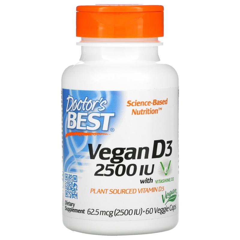 Doctor's Best, Vegan D3 met Vitashine D3, 2500 IE, 60 vegetarische capsules
