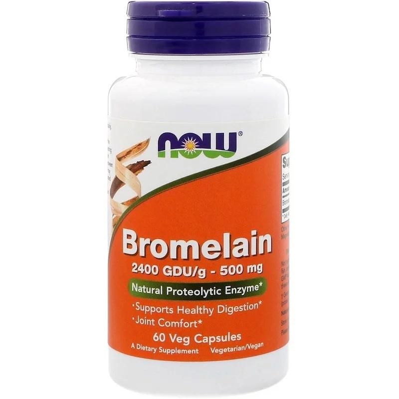 Now Foods Bromelaïne, 500 mg, 2400 GDU/gram, 60 vegetarische capsules