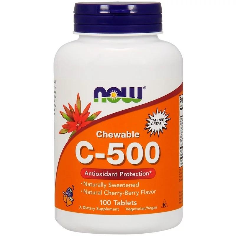 Now Foods, Chewable Vitamine C-500, kersen/bessen smaak, met bioflavonoïden, 100 kauwtabletten,  voor vegetariërs en veganisten